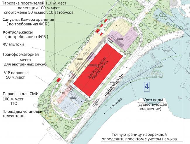 Дворец водных видов спорта в Казани. Вышка для прыжков. Генплан