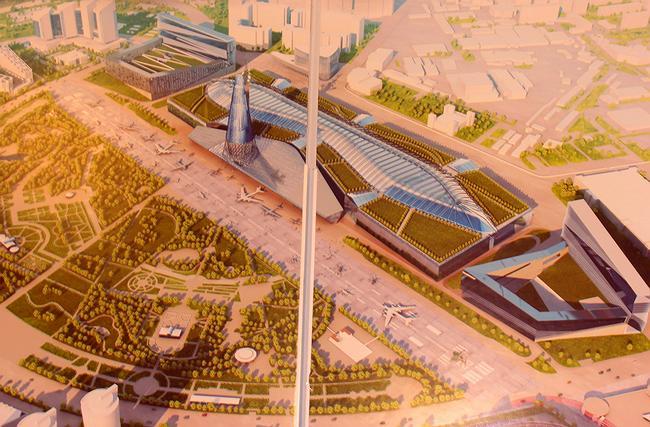 Проект комплекса Национального музея авиации и космонавтики на Ходынском поле («Моспроект-4», арх. А.В.Кузьмин)