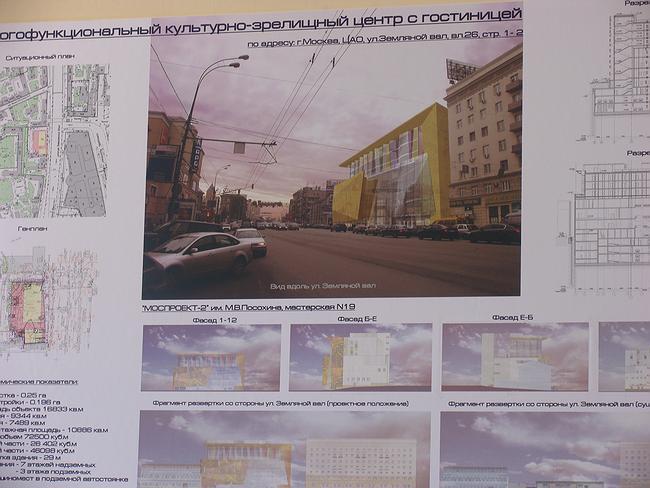 Проект многофункционального культурно-зрелищного центра с гостиницей на Земляном Валу, 26, стр.1-2
