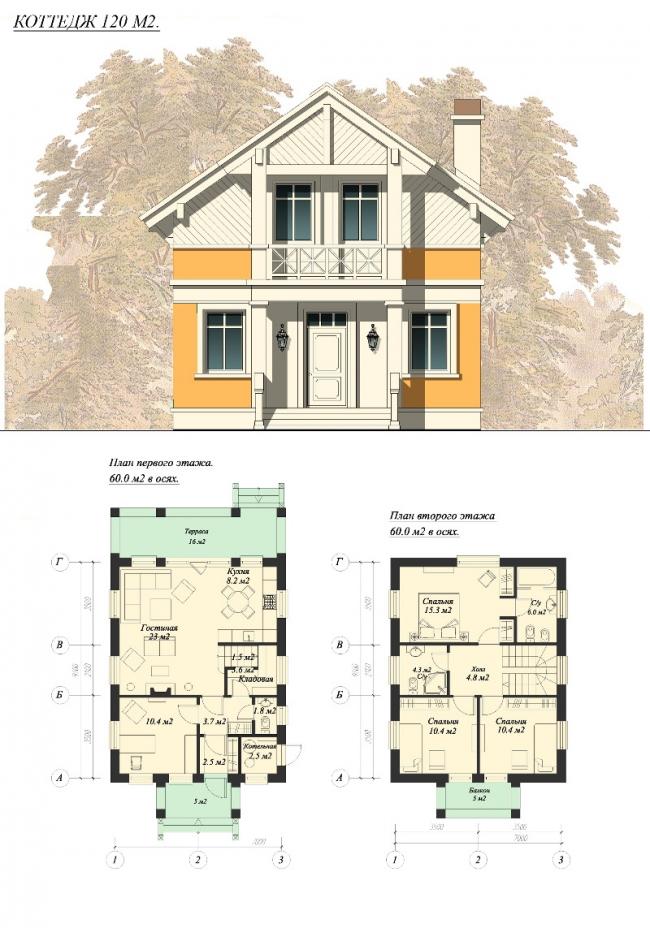 Коттедж 120 м2. План первого этажа, план второго этажа. © АСБ Карлсон & К