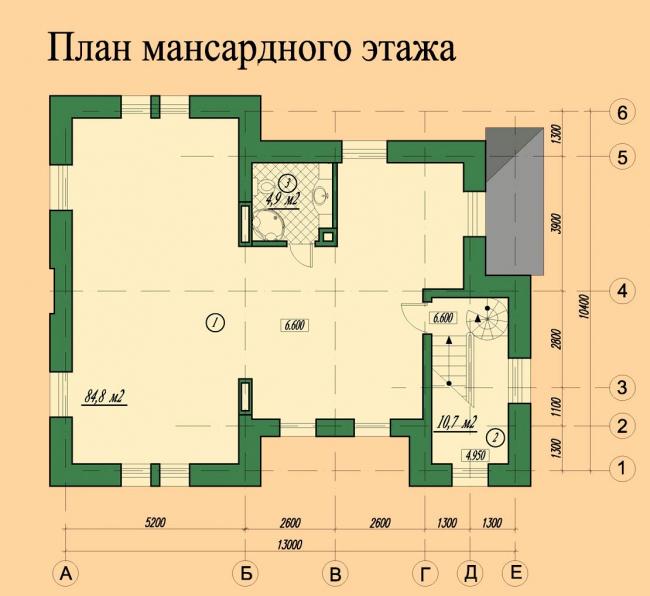 План мансардного этажа. © АСБ Карлсон & К
