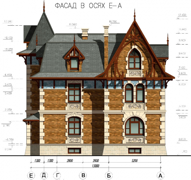 Фасад в осях Е-А. © АСБ Карлсон & К
