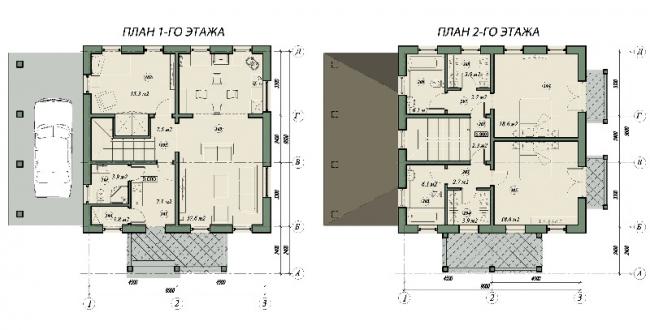 План первого и второго этажа. © АСБ Карлсон & К