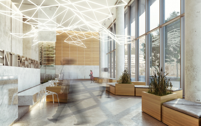 Предварительная концепция архитектурных решений интерьеров бизнес-центра «Алкон» (2-я очередь строительства) © Т+Т Architects