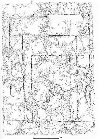 Рис. 12. Глиняная плита с расчетным чертежом XII в. Старая Рязань. Раскопки А. Л. Монгайта, 1948 г.
