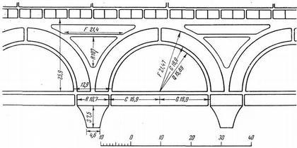 Рис. 19. Построение аркатурного пояса при помощи расчетного чертежа