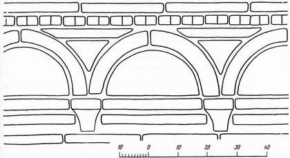 Рис. 20. Аркатурный пояс Успенской Елецкой церкви. Обмерные данные