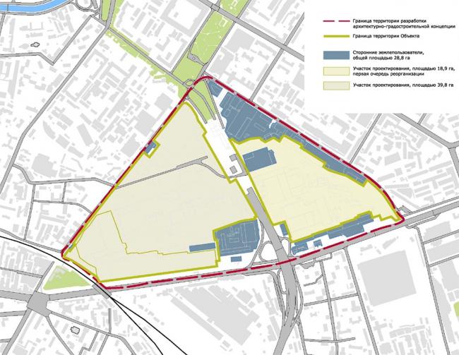 Схема территории завода «Серп и молот». Изображение предоставлено НИиПИ Генплана