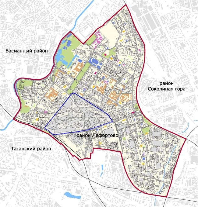 Территория завода «Серп и молот» на карте района Лефортово.  Изображение предоставлено НИиПИ Генплана