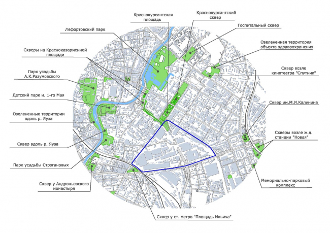 Схема расположения зеленых зон рядом с территорией завода «Серп и молот». Изображение предоставлено НИиПИ Генплана
