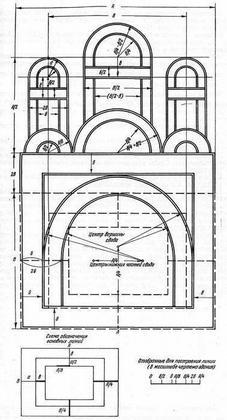 Рис. 26. Реконструкция построения чертежа церкви на миниатюре «Изборника» 1073 г.