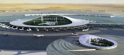 Международный аэропорт Джидды. Общий вид основного терминала и терминала королевской семьи