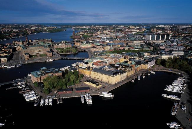 Полуостров Бласиехольмен. На первом плане - участок Нобелевского центра. Фото: Jeppe Wikström