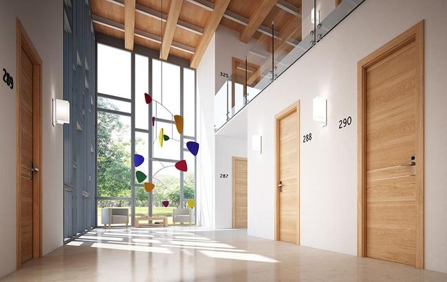Противопожарная дверь GDESIGN REI-60. Цвет «дуб натуральный», металлические вставки (полоски)