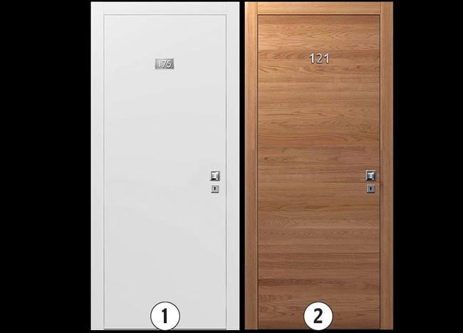 Варианты исполнения:  1.Окрашенная в цвета RAL гладкая матовая или глянцевая или окрашенная гладкая с металлическими вставками (полоски) или ламинированная. 2.Гладкая дверь, отделка – шпон дуба с металлическими вставками или без.