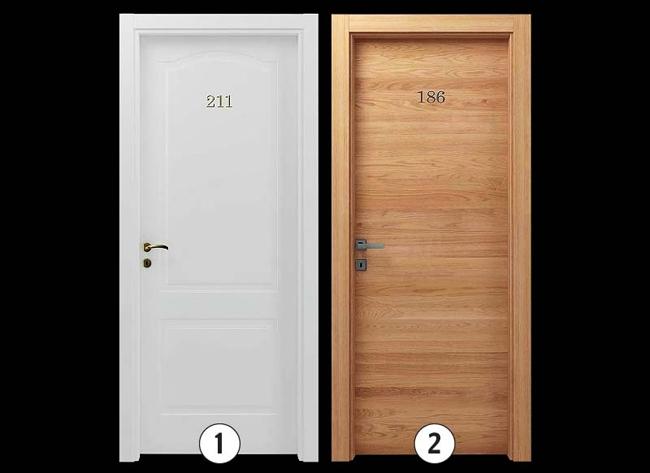 Варианты исполнения: 1.Окрашенная гладкая дверь, или окрашенная с фрезерованным рисунком (глубина выборки 5 мм), или окрашенная гладкая с металлическими вставками. 2.Гладкая дверь, отделка – массив дерева с металлическими вставками или без.