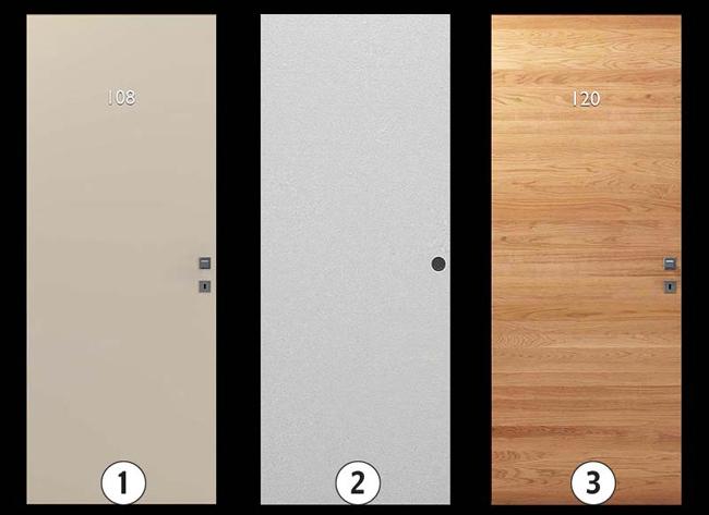 Варианты исполнения:  1.Окрашенная в цвета RAL гладкая матовая или глянцевая, окрашенная в цвета RAL с фрезерованным рисунком (глубина выборки 5 мм), окрашенная гладкая с металлическими вставками. 2.Гладкая дверь без отделки, под покраску или оклейку. 3.Гладкая дверь, отделка – массив дерева с металлическими вставками или без.