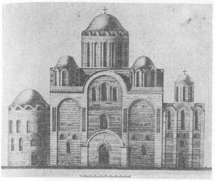 Чернигов. Спасский собор. Реконструкция западного фасада.  По Ю. С. Асееву.