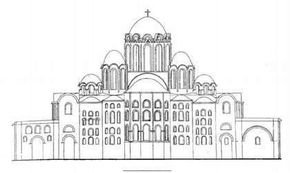 Киев. Софийский собор. Реконструкция восточного фасада.