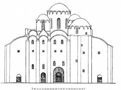 Новгород. Софийский собор. Реконструкция западного фасада.  По Г. М. Штендеру.