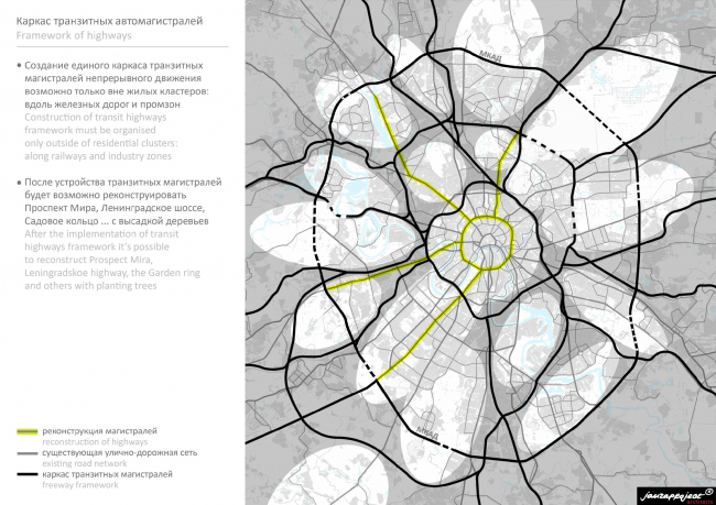 Каркас транзитных автомагистралей. Бюро Яузапроект. Иллюстрация: jauzaproject.com