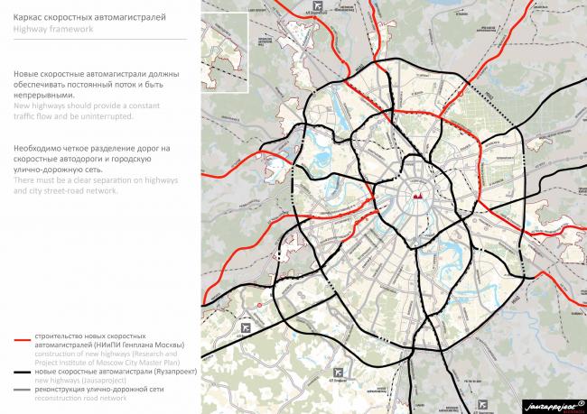 Каркас скоростных автомагистралей. Бюро Яузапроект. Иллюстрация: jauzaproject.com