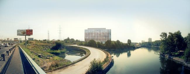 Многофункциональный офисно-деловой комплекс на Ленинградском шоссе. Фотомонтаж со стороны МКАД. © ADM