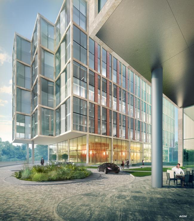 Многофункциональный офисно-деловой комплекс на Ленинградском шоссе. Перспективное изображение. © ADM