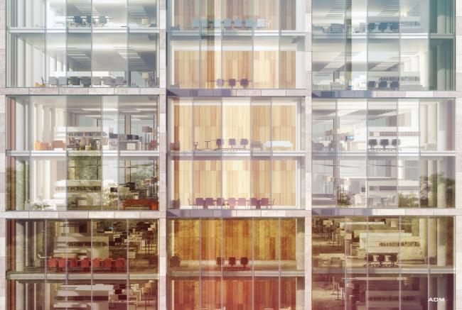 Многофункциональный офисно-деловой комплекс на Ленинградском шоссе. Фрагмент фасада. © ADM