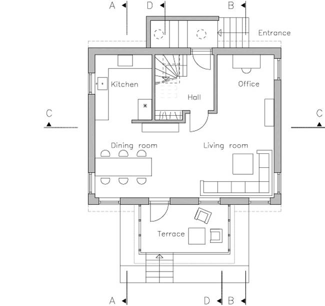 План первого этажа. Иллюстрация с сайта www.velux.com