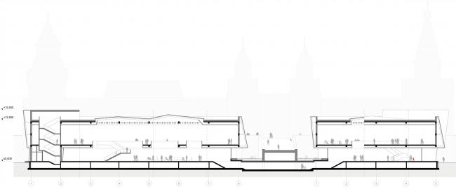 Международный многофункциональный деловой комплекс ремесел Арт-Палас. Проект-победитель. Totement/Paper. Разрез