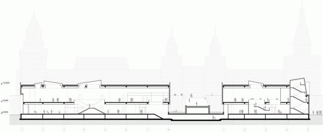 Международный многофункциональный деловой комплекс ремесел Арт-Палас. Второвй вариант. Totement/Paper. Разрез
