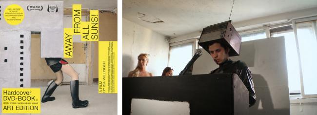 (слева): Фильм «От всех солнц» (Away From All Suns). Реж. Изабелла Виллингер, Германия  Открытка кинофестиваля архитектуры   и дизайна, Нью-Йорк, 16-20 окт. 2013 | (справа): художник Донатас Грудович в фильме «От всех солнц». Фотография: Изабелла Виллингер
