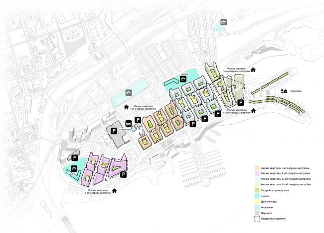 Схема размещения жилой застройки и социальной инфраструктуры. © «Симбирскпроект»