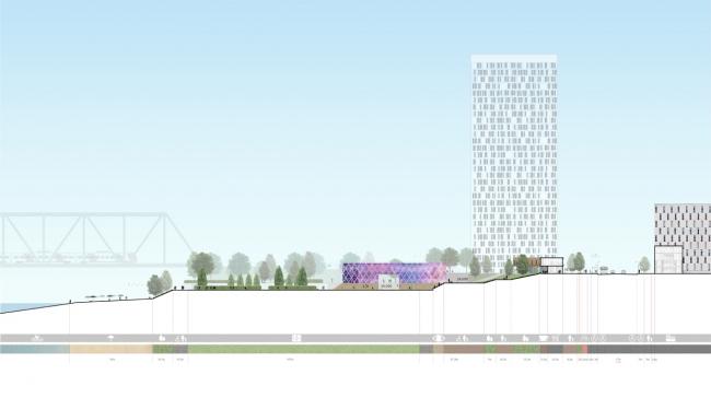 Сечение по набережной 2. Здание ФОКа. © «Симбирскпроект»