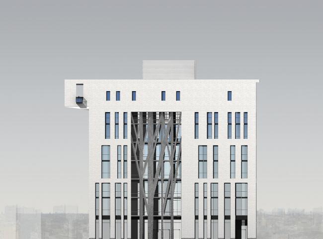 Восточный торцевой фасад. © Мастерская архитектора Бавыкина