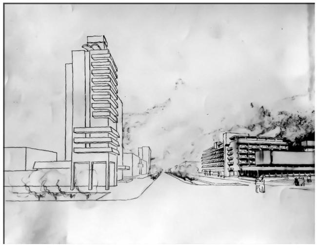 Новый городской общественный центр Евпатории, архитекторы А.Е.Логинов и др. (проект 1980-х, строительство остановлено в 1991). Архивное изображение предоставлено авторами выставки.