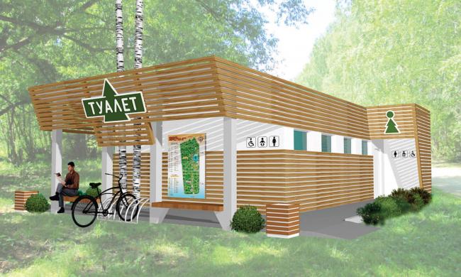 Дизайн-проект общественного туалета в Измайловском парке. Автор: Юлия Ковалёва-Бахмутская. Иллюстрация: sanitec-russia.ru