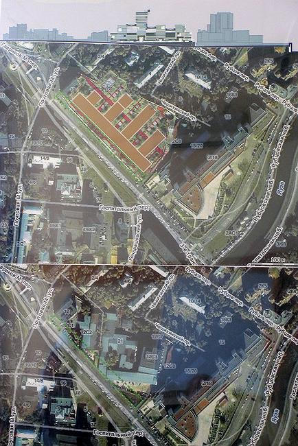 Многофункциональный бизнес-комплекс на Малой Почтовой улице: развертка по улице, генплан, сегодняшняя застройка