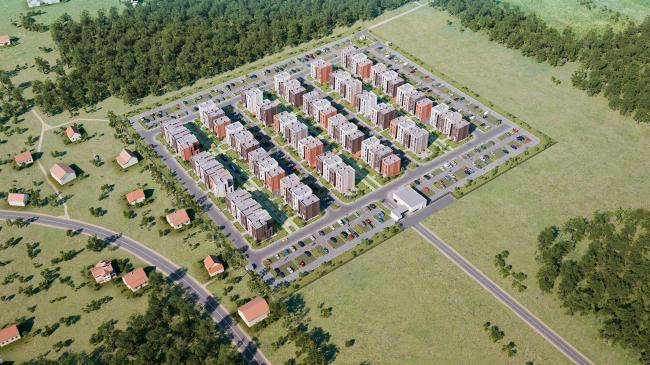 Жилой комплекс «Голландский квартал» в Ивантеевке. Вид с высоты птичьего полёта. Проект, 2013 © UNK project
