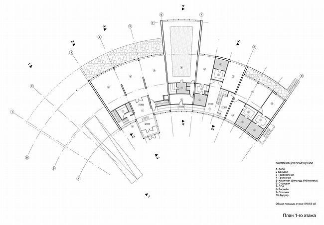 Дом 1, дом 2 для «курорта Пирогово».  Дом 1, 1-й этаж © Архитектурная мастерская Лызлова