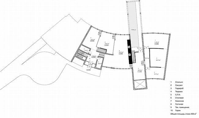 Дом 1, дом 2 для «курорта Пирогово». Дом 2. План 1 этажа © Архитектурная мастерская Лызлова