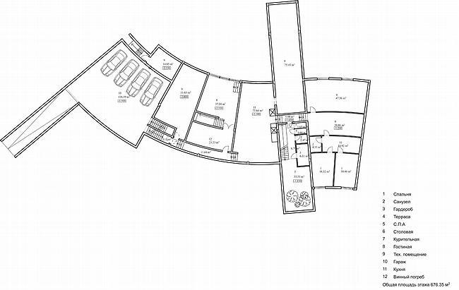 Дом 1, дом 2 для «курорта Пирогово». Дом 2. План цокольного этажа © Архитектурная мастерская Лызлова
