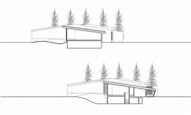 Дом 1, дом 2 для «курорта Пирогово».  Разрезы в осях 1-1, 2-2 и 3-3 © Архитектурная мастерская Лызлова