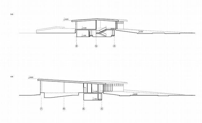 Дом 1, дом 2 для «курорта Пирогово». Разрезы в осях 3-3 и 4-4 © Архитектурная мастерская Лызлова
