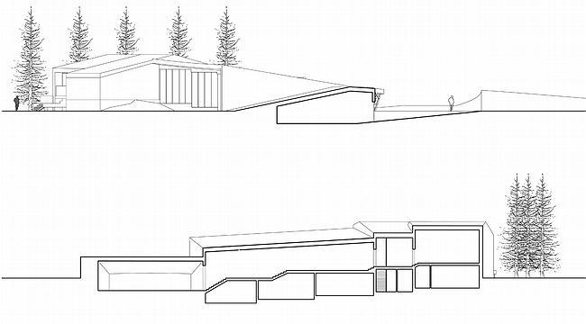 Дом 1, дом 2 для «курорта Пирогово». Разрезы в осях 5-5 и 6-6 © Архитектурная мастерская Лызлова