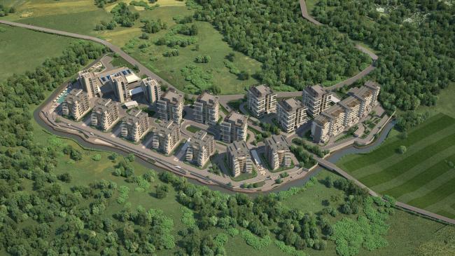 Жилой комплекс «Олимпийская деревня Новогорск. Квартиры». Вид сверху. Проект, 2011 © Архитектуриум