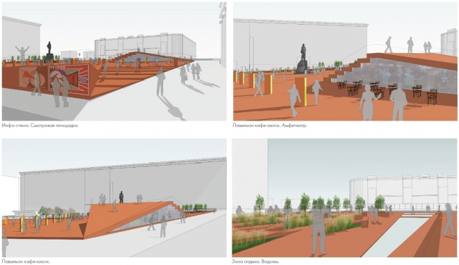 Концепция реорганизации Триумфальной площади. Перспективные виды площади © Wowhaus