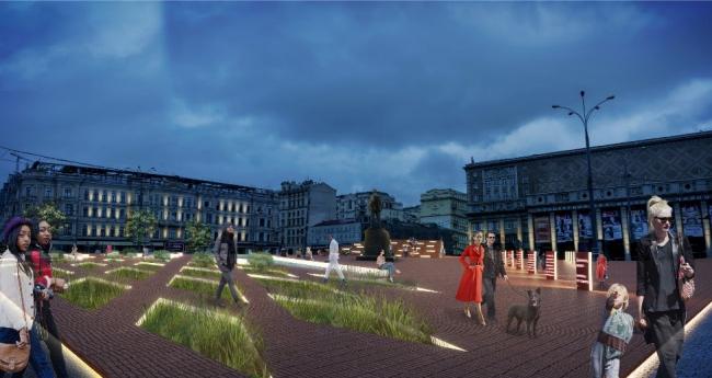 Концепция реорганизации Триумфальной площади. Вид со стороны 1-й Брестской улицы © Wowhaus