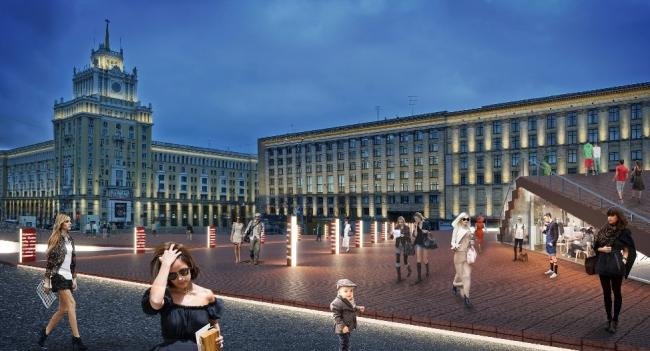 Концепция реорганизации Триумфальной площади. Вид со стороны выхода из метро © Wowhaus